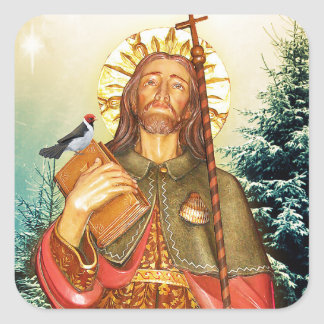St.Rocco - St. Roch - pegatinas cuadrados de San Pegatina Cuadrada