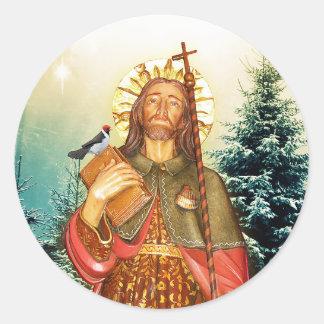 St.Rocco - St. Roch - pegatinas religiosos de San Pegatina Redonda