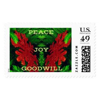St rojo formado asta abstracta del navidad de los timbres postales