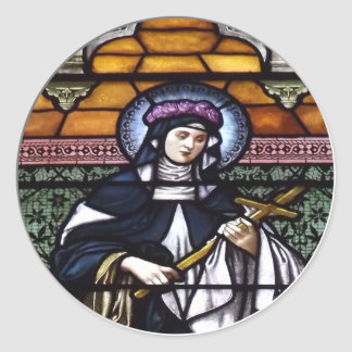 St. Rose of Lima -pray for us-stained glass window Classic Round Sticker