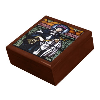 St. Rose of Lima -pray for us-stained glass window Jewelry Box