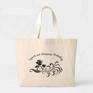 st rose scroll black large tote bag