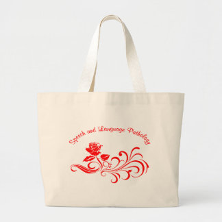 st rose scroll red large tote bag
