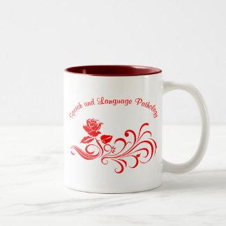 st rose scroll red Two-Tone coffee mug