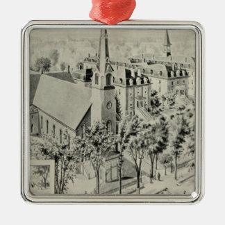 St Rose's Church, Meriden Square Metal Christmas Ornament