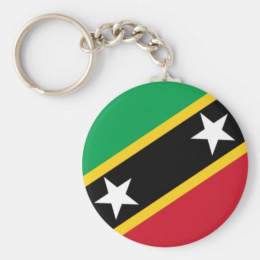 St San Cristobal y bandera de Nevis Llavero Redondo Tipo Pin