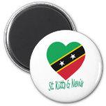 St San Cristobal y corazón de la bandera de Nevis Imán De Frigorifico
