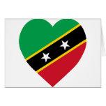 St San Cristobal y corazón de la bandera de Nevis Tarjeta De Felicitación