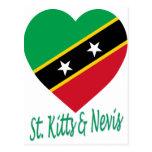 St San Cristobal y corazón de la bandera de Nevis Postales
