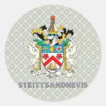 St. San Cristobal y Nevis Pegatina Redonda