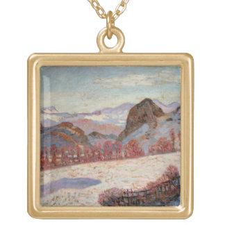 St. Sauves d'Auvergne, c.1900 (oil on panel) Square Pendant Necklace