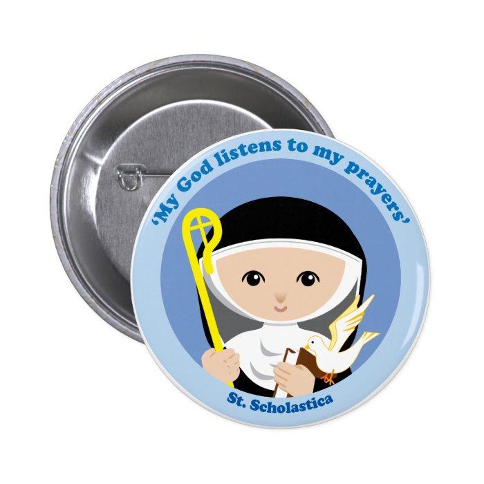 St. Scholastica Pinback Button