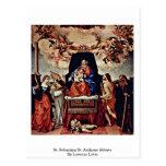 St. Sebastian St Anthony Abbate de Lorenzo Lotto Postales