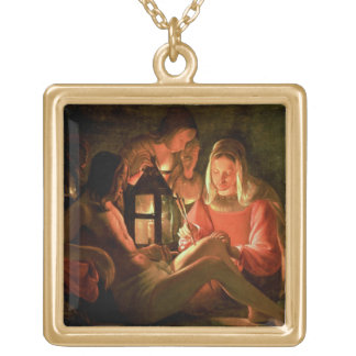 St. Sebastian tended by the Holy Woman (oil on can Gold Plated Necklace