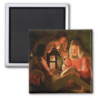 St. Sebastian tended by the Holy Woman (oil on can 2 Inch Square Magnet