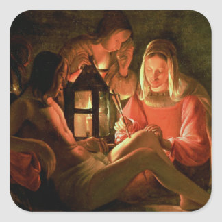 St. Sebastian tendido por la mujer santa (el Pegatina Cuadrada
