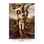 St. Sebastian y Madonna con los santos por Sodoma Tarjetas Postales