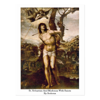 St. Sebastian y Madonna con los santos por Sodoma Tarjeta Postal