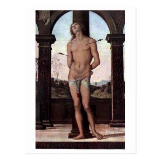 St Sebastien by Perugino Postcard
