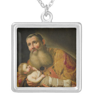 St. Simeon Presenting the Infant Christ Silver Plated Necklace