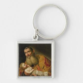 St. Simeon que presenta al Cristo infantil Llavero Cuadrado Plateado