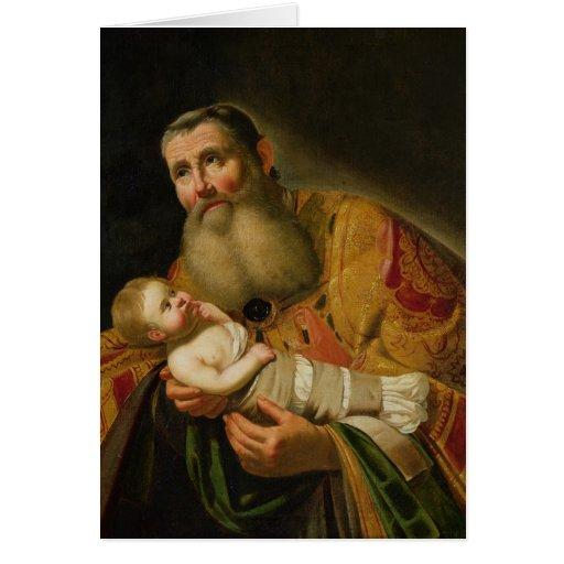 St. Simeon que presenta al Cristo infantil Tarjetón