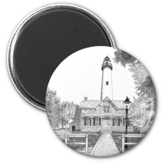 St. Simons Lighthouse 2 Inch Round Magnet