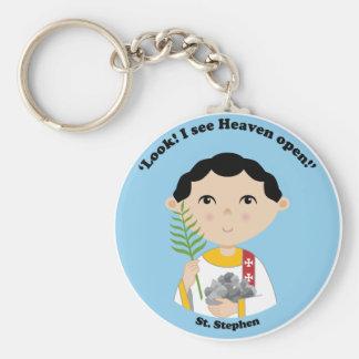 St. Stephen Basic Round Button Keychain