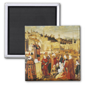 St. Stephen Preaching 2 Inch Square Magnet