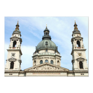 St Stephens Basilica and ClockTower in Budapest 5x7 Paper Invitation Card