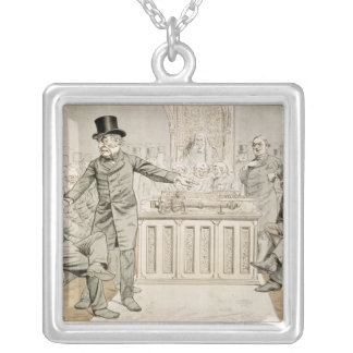 'St. Stephen's Review Presentation Cartoon' Silver Plated Necklace