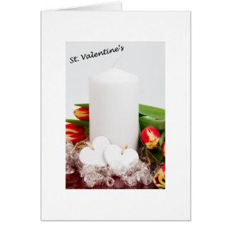 St. Tarjeta del día de San Valentín con la vela