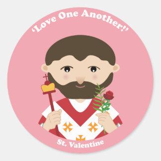 St. Tarjeta del día de San Valentín Pegatina Redonda
