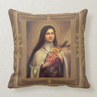 St. Teresa con los rosas, crucifijo Jesús Cojín
