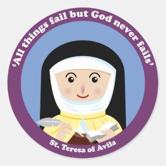 St Teresa de Ávila Pegatina Redonda