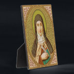 "St. Teresa of Avila (SNV 27) (Square Image) Plaque<br><div class=""desc"">Image Source: Antique image of St. Teresa of Avila from a late 19th century chromoxylographic devotional print published by St. Norbertus Verlag, Vienna, Austria, in the designer's collection of religious ephemera. Feast: October 15 The SNV St. Teresa of Avila palette consists of the following colors (with hex codes): dark gold...</div>"