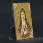 """St. Teresa of Avila (SNV 27) (Square Image) Plaque<br><div class=""""desc"""">Image Source: Antique image of St. Teresa of Avila from a late 19th century chromoxylographic devotional print published by St. Norbertus Verlag, Vienna, Austria, in the designer's collection of religious ephemera. Feast: October 15 The SNV St. Teresa of Avila palette consists of the following colors (with hex codes): dark gold...</div>"""