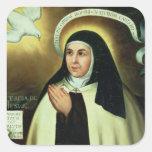 St Theresa de Ávila 1570 Calcomania Cuadradas