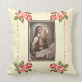 St. Therese Baby Jesus Manger Pink Roses Throw Pillow