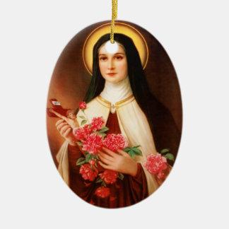 St. Thérèse del ornamento del navidad de Lisieux Adorno Navideño Ovalado De Cerámica