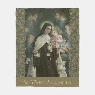 St. Therese Little Flower Angels Cherubs Roses Fleece Blanket