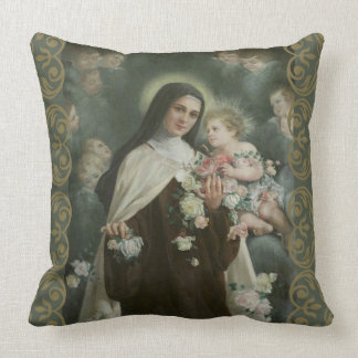 St. Therese Little Flower Angels Cherubs Roses Throw Pillow