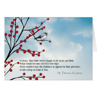 St. Therese Little Flower bird berries branches Card