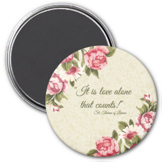 "St. Therese ""Love Alone that Counts"" with Pink Ros Magnet"