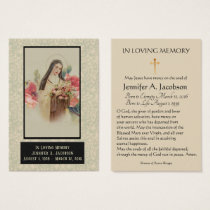 St. Therese of Lisieux Funeral Memorial Holy Card