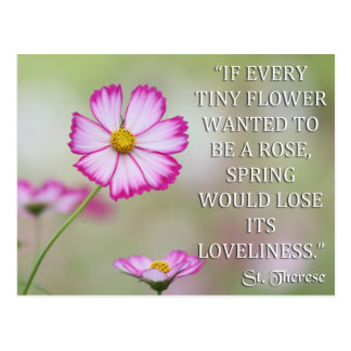 ST THERESE OF LISIEUX IF EVERY TINY FLOWER WANTED POSTCARD
