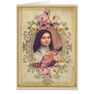 St. Therese Roses Crucifix Vintage Gold Border Card