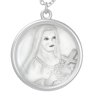 st therese round pendant necklace