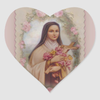 St. Therese the Little Flower Pink Roses Heart Sticker