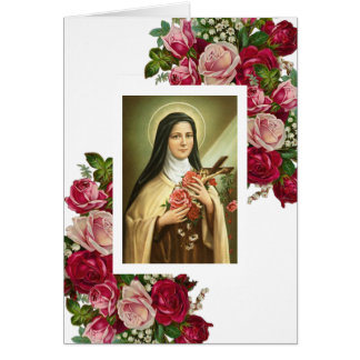 St. Therese the Little Flower Red Roses Border Card